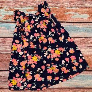 Carter's Floral Ruffle Navy Dress